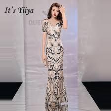 2019 <b>It'S Yiiya Evening</b> Dress 2019 Gold <b>Bling</b> Sequins O Neck ...