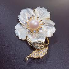 <b>ZHBORUINI Fine</b> Jewelry Natural Freshwater Pearl Brooch Shell ...