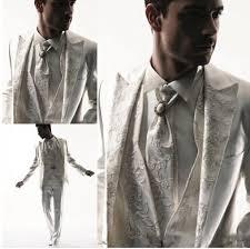 <b>2018 White</b> Ivory <b>Groom Tuxedos</b> Groomsman Dress Men's ...