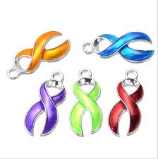 <b>10pcs</b> lot <b>Silver Plated Enamel</b> Hope Ribbon Cancer Charms ...