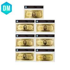 1928 7pcs usa $1 2 5 10 20 50 100 dollar gold banknote colorful world money for souvenirs