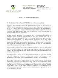 A 2 5 Letter Of Confirmation Of The Engagement Audit