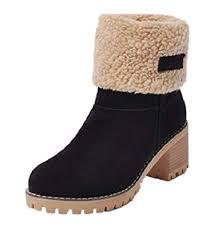 <b>Winter Suede</b> Boots <b>Womens</b> Ladies <b>Fur</b> Chunky Block Elegant ...