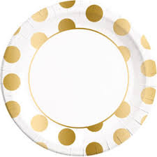 Gold, Rose Gold & Copper - <b>Gold Dots Paper Plates</b> Large 23cm ...