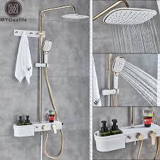 Золотой белый душ смесительная система <b>настенный</b> ...