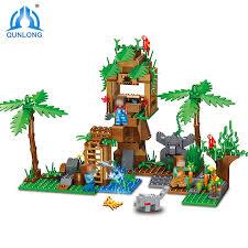Qunlong 342pcs My World Tree House In Island <b>Model Building</b> ...