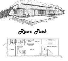 earth sheltered home plans   rendering of the Barrington floor    Earth Sheltered Homes   River Park PLANS