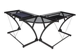 glass top computer l desk from regency seatings soho black glass top corner
