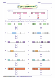 Equivalent Fraction WorksheetsWriting Equivalent Fractions Using Fraction Bar Model