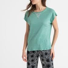 <b>Верх</b> от пижамы из льна с кружевными вставками зеленый <b>La</b> ...