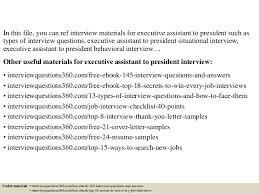 top executive assistant to president interview questions and answe 2 in this file you can ref interview materials for executive assistant