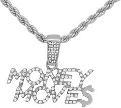 White Gold-Tone Hip Hop <b>Bling Iced Out</b> Cardi B Money Moves ...