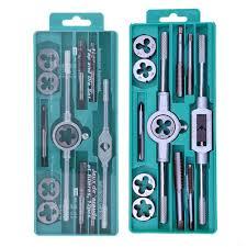 <b>12pcs</b> Bearing Steel Metric <b>Tap Die Set Thread</b> Plugs <b>Taps</b> Hand ...