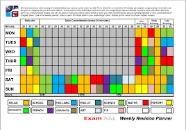 exam pal your personal examinations and revision guide weekly planner