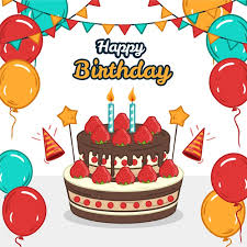Colourful balloons and garlands with <b>happy birthday cake</b> Vector ...