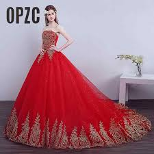 Hot Sale Princess Sweetheart Embroidery Gold with Red Wedding ...