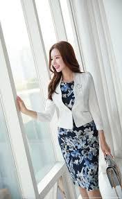 修身印花及膝优雅连衣裙 | 线条 | Fashion, High waisted skirt, <b>Korean</b> ...