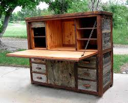 Computer Desk Cabinet Rustic Barnwood Desks Computer Fold Down And Seven Drawer Wood