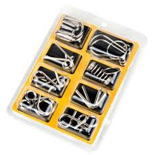 <b>8PCS</b>/Set Metal Wire Puzzle IQ Mind Brain Teaser Puzzles <b>Game</b> for ...