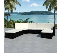 vidaXL <b>4 Piece Garden lounge</b> set with Cushions Poly Rattan Black ...