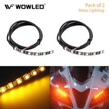 <b>2Pcs 6 LED Universal</b> Amber Motorcycle Strip Turn Signal Indicator ...