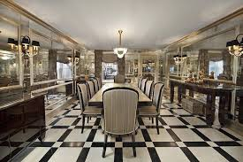 art deco dining room with french doors chandelier simple marble tile floors wainscoting art deco dining room