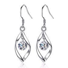 Zolkamery <b>Women's Earrings 925 Sterling Silver</b> Twist Dangle Drop ...