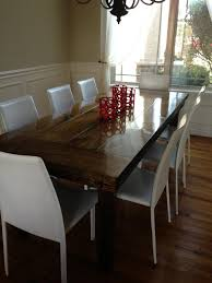 7ft dining table: ft all wood jamesjames farmhouse dining table with end caps in sunset stain with