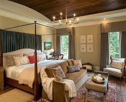 couch bedroom sofa:  simple shabby chic bedroom design wooden four poster canopy bed bright brown sectional couches