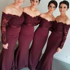 <b>Sexy Burgundy</b> Mermaid Long Sleeve <b>Lace</b> Long <b>Bridesmaid</b> ...