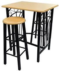 vidaXL <b>Breakfast</b>/<b>Dinner Table Dining</b> Set Tan Wood with Black ...