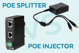 What is the difference between a <b>PoE injector</b> and a PoE <b>splitter</b>?