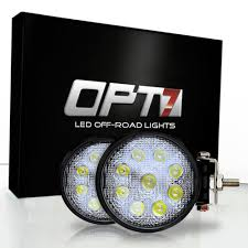 27w <b>Round LED</b> Auxiliary Off-Road Lights (Pair) - OPT7