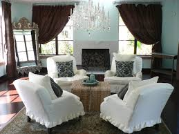 cool french country living room pictures white fabric armless sofa chair cover beige rattan ottoman coffee