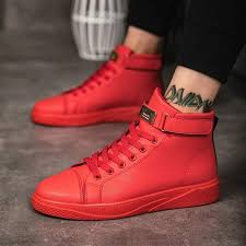 Online Shop Black Red Men Lace Up Ankle Boots Flats <b>Shoes</b> High ...