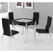 elegant square black mahogany dining table:  round glass dining table with metal base