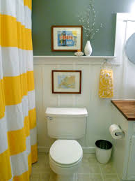 trendy yellow white shower curtain and cool framed wall art for small bathroom decor feat ring bathroom decor designs pictures trendy