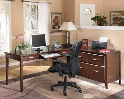 office for home impressive black colored supervisor chair installed in front of sectional pine desks for cheerful home decorators office furniture remodel