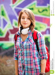Style Teen Girl With <b>Backpack</b> Standing Near <b>Graffiti</b> Wall. Stock ...