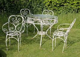 image of metal outdoor furniture wrought black and white outdoor furniture