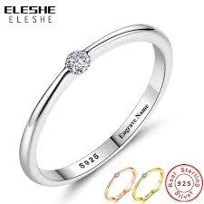 <b>ELESHE</b> Authentic 925 Sterling Silver Rings Round <b>Zirconia</b> Crystal ...