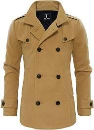 TAM WARE Mens Classic <b>Wool Double</b> Breasted Pea Coat at ...