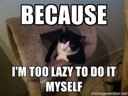 Because I'm too lazy to do it myselF - cool cat | Meme Generator via Relatably.com