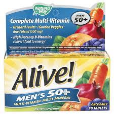 Nature's Way <b>Alive</b> Men's <b>50</b>+ Multi-Vitamin <b>Multi-Mineral</b>, <b>50</b> ct ...