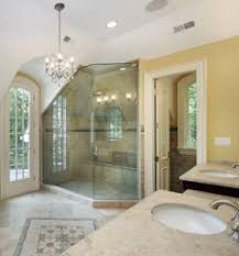 a shower lit through multiple light sources bathroom lighting design