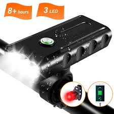 1000LM <b>USB Rechargeable Bike Light</b> 3 LED Super Bright Bicycle ...