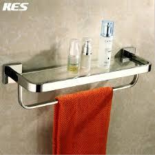 bathroom tempered glass shelf: kes a bathroom lavatory tempered glass shelf with towel bar wall mount polished stainless steel