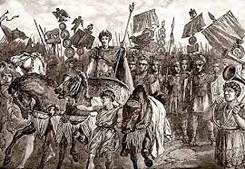 Image result for Roman generals leading war captives in triumphal procession pictures