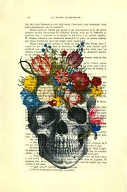 skull flower, <b>floral skull</b> art print on <b>vintage</b> dictionary book page 461 ...
