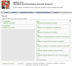 maple metabolic and physiological potential evaluator job arrangement page for comparative analysis click to enlarge